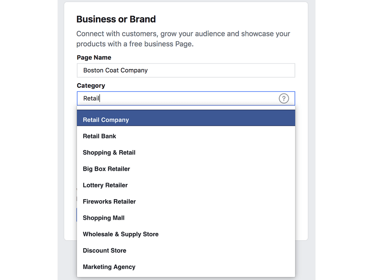 facebook marketing business page business category